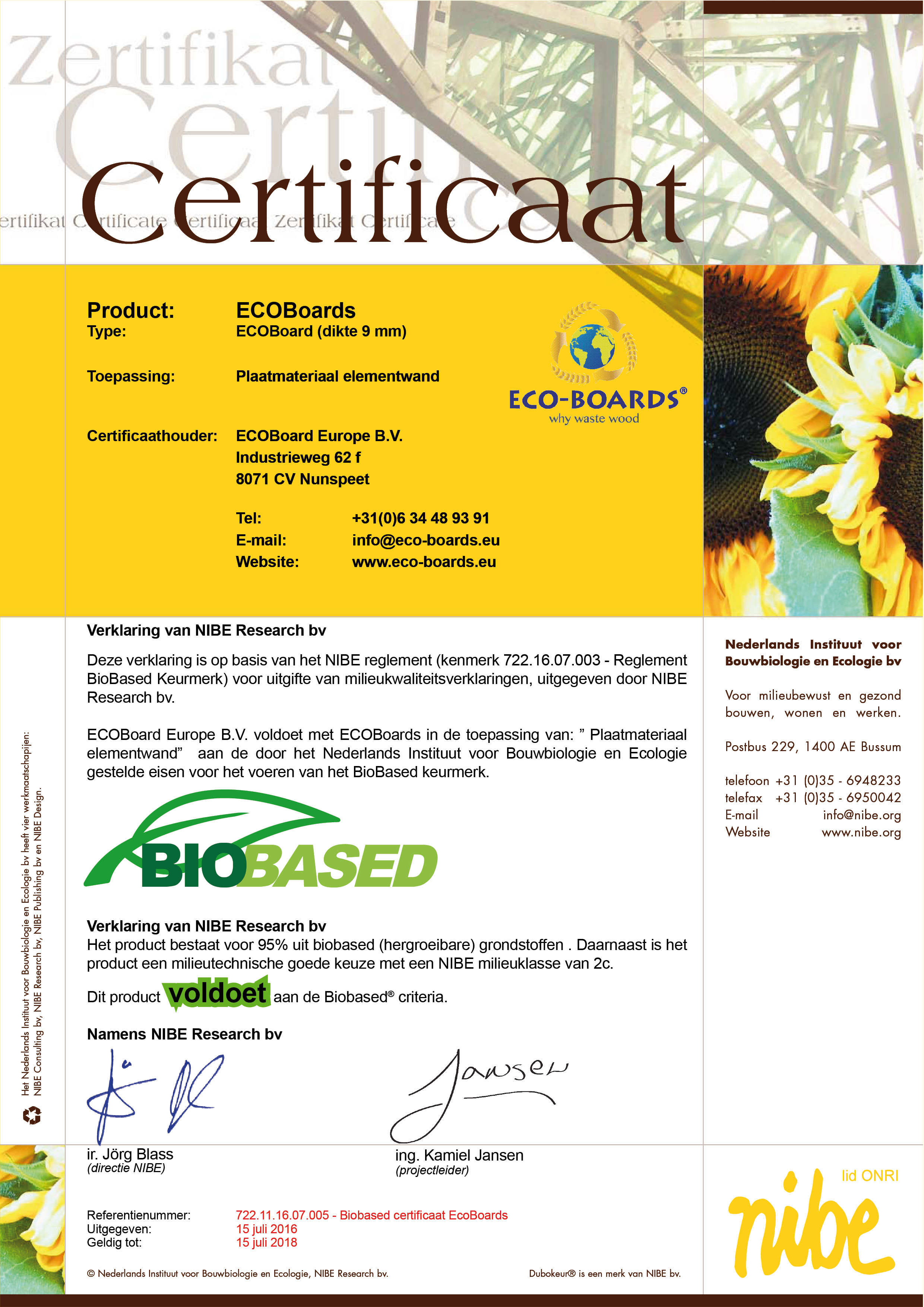 Biobased Certificaat